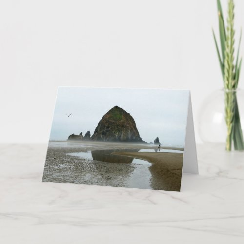 Haystack Rock Reflection on Cannon Beach, Oregon Card