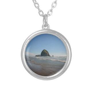 Haystack Rock Round Pendant Necklace