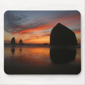 Haystack Rock sunset Mouse Pad