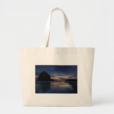Beach Themed Haystack Rock under Starry Night Sky Large Tote Bag