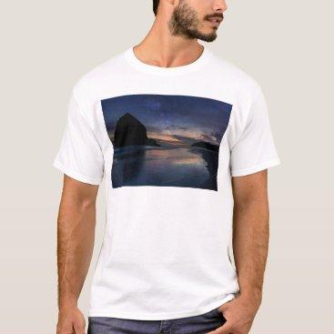 Beach Themed Haystack Rock under Starry Night Sky T-Shirt