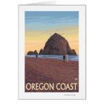 Haystack Rock Vintage Travel Poster Card