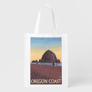 Haystack Rock Vintage Travel Poster Grocery Bag