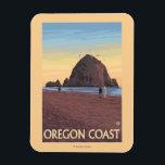"Haystack Rock Vintage Travel Poster Magnet<br><div class=""desc"">Cannon Beach,  Oregon - Haystack Rock Vintage Travel Poster was created in 2007. This image depicts scenes from Oregon Coast.</div>"
