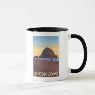 Haystack Rock Vintage Travel Poster Mug