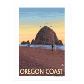 Haystack Rock Vintage Travel Poster Postcard