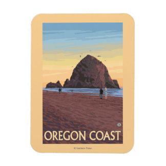 Haystack Rock Vintage Travel Poster Rectangular Photo Magnet