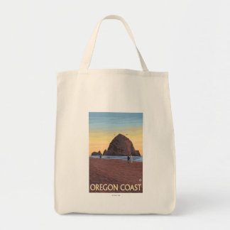 Haystack Rock Vintage Travel Poster Tote Bag