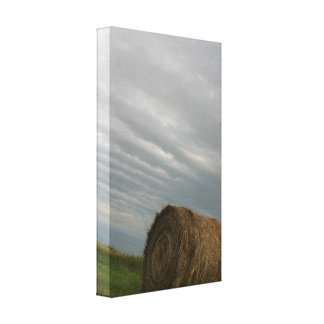 Haystack with storm clouds overhead farm photo canvas print