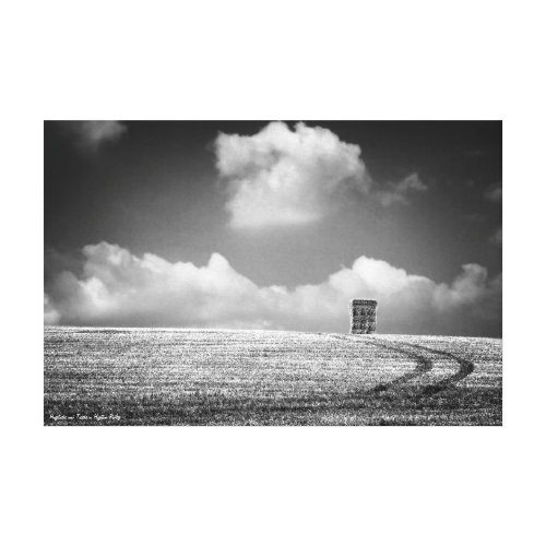 Haystacks and Tracks, fine art black and white Canvas Print