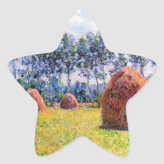 Haystacks at Giverny - Claude Monet Star Sticker