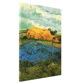 Haystacks de Van Gogh debajo de un cielo lluvioso, Impresion En Lona