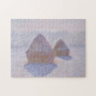 Haystacks Effect of Snow & Sun Monet Fine Art Jigsaw Puzzle