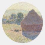 Haystacks en la luz del sol, mediodía (1890) etiquetas redondas