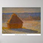 Haystacks en nieve de Claude Monet Impresiones