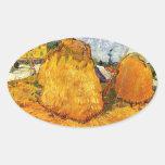 Haystacks en Provence de Van Gogh. Colcomanias Ovaladas Personalizadas