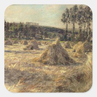 Haystacks en Sunset, 1906 Pegatina Cuadrada