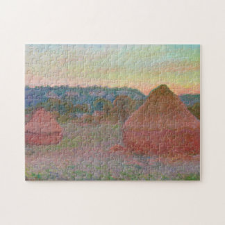 Haystacks End of Day Autumn Monet Fine Art Jigsaw Puzzle