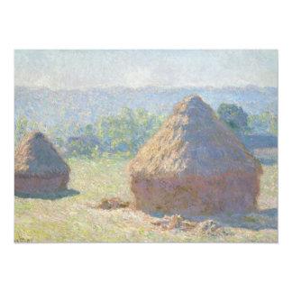 """Haystacks, finales del verano de Claude Monet Invitación 5.5"""" X 7.5"""""""