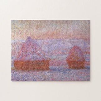 Haystacks Giverny Morning Effect Monet Fine Art Jigsaw Puzzle