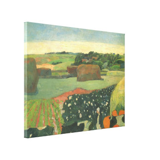 Haystacks in Brittany by Paul Gauguin, Vintage Art Canvas Print