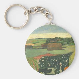 Haystacks in Brittany by Paul Gauguin, Vintage Art Keychain