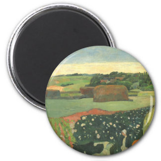 Haystacks in Brittany by Paul Gauguin, Vintage Art Magnet