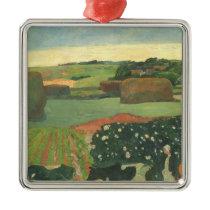 Haystacks in Brittany by Paul Gauguin, Vintage Art Metal Ornament