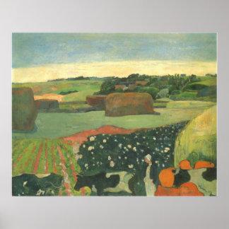 Haystacks in Brittany by Paul Gauguin, Vintage Art Poster