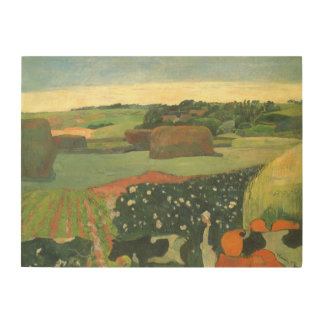 Haystacks in Brittany by Paul Gauguin, Vintage Art Wood Wall Decor