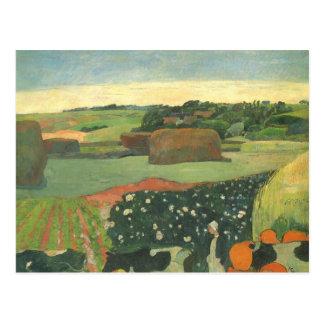 Haystacks in Brittany, Potato Field; Paul Gauguin Postcard