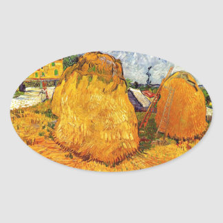 Haystacks in Provence by Van Gogh. Oval Sticker
