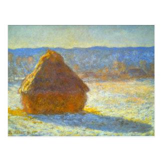 Haystacks in Snow by Claude Monet Postcard