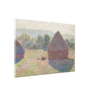 Haystacks, Midday by Claude Monet Canvas Print