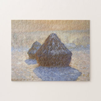 Haystacks Snow Effect Monet Fine Art Jigsaw Puzzle