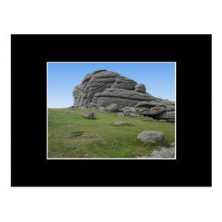 Haytor. Rocas en Devon Inglaterra. En negro Postal