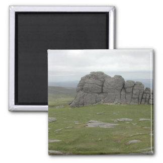 Haytor. Rocas en Devon Inglaterra Imán Cuadrado