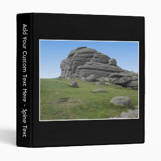 Haytor. Rocks in Devon England. On Black. Binder