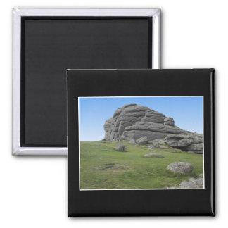 Haytor. Rocks in Devon England. On Black. Refrigerator Magnets