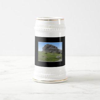 Haytor. Rocks in Devon England. On Black. 18 Oz Beer Stein