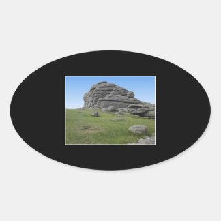 Haytor. Rocks in Devon England. On Black. Oval Sticker