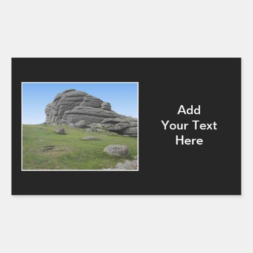 Haytor. Rocks in Devon England. On Black. Rectangular Stickers