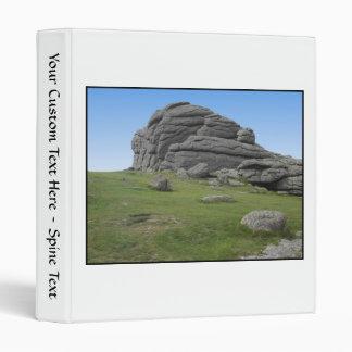 Haytor. Rocks in Devon England. On White. 3 Ring Binder