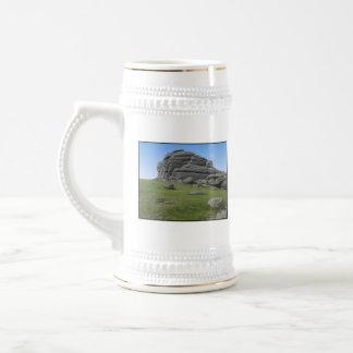 Haytor. Rocks in Devon England. On White. 18 Oz Beer Stein