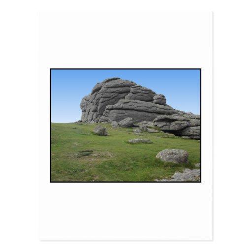 Haytor. Rocks in Devon England. On White. Post Card