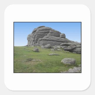 Haytor. Rocks in Devon England. On White. Square Sticker