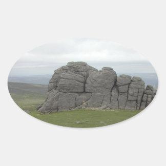 Haytor. Rocks in Devon England. Oval Sticker