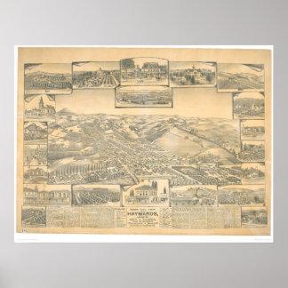 Hayward, mapa panorámico del CA (0696A) Póster