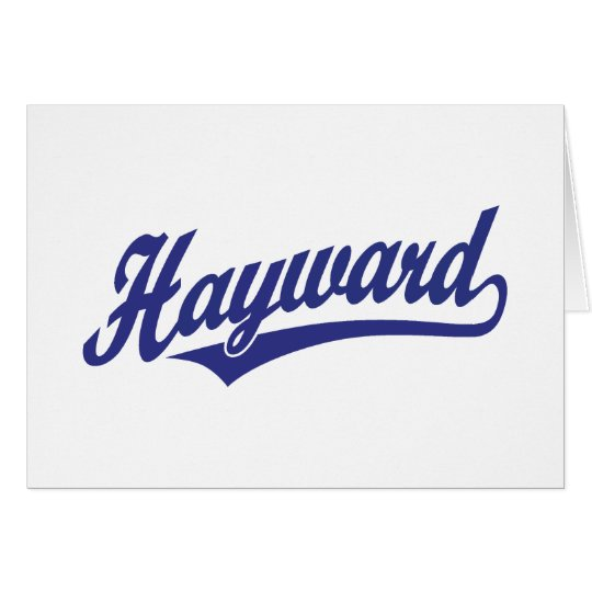 Hayward script logo in blue card