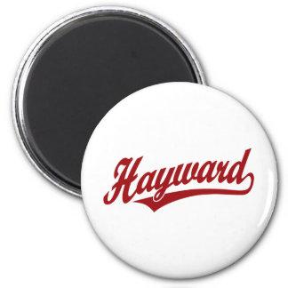 Hayward script logo in red magnet